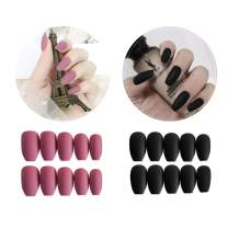 48 Pcs (2 Boxes) Black & Deep Pink Coffin Press on Nails -Full Cover Medium Length Matte False Nails Set Artificial Acrylic Nails Resin Fake Fashion Nail Art Design Manicure Set