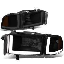 DNA Motoring HL-LB2-DR944-BK-SM-AM Smoked/Amber LED DRL Headlight (Pair, For 94-02 Dodge Ram Truck), 1 Pack