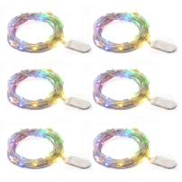 TingMiao 6 Pack LED Starry String Lights 7.2ft 20 LED, Fairy Lights Battery Powered Silver Copper Wire Lights for DIY Christmas Decor Lights (Multi Color)