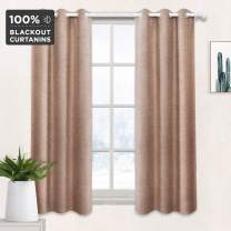 Full Blackout Curtains Energy Saving Faux Linen 3 Pass Coating Back Bonded with Fabric Blackout Panels for Small Short Window 42x63 Inch 1 Piece Taupe