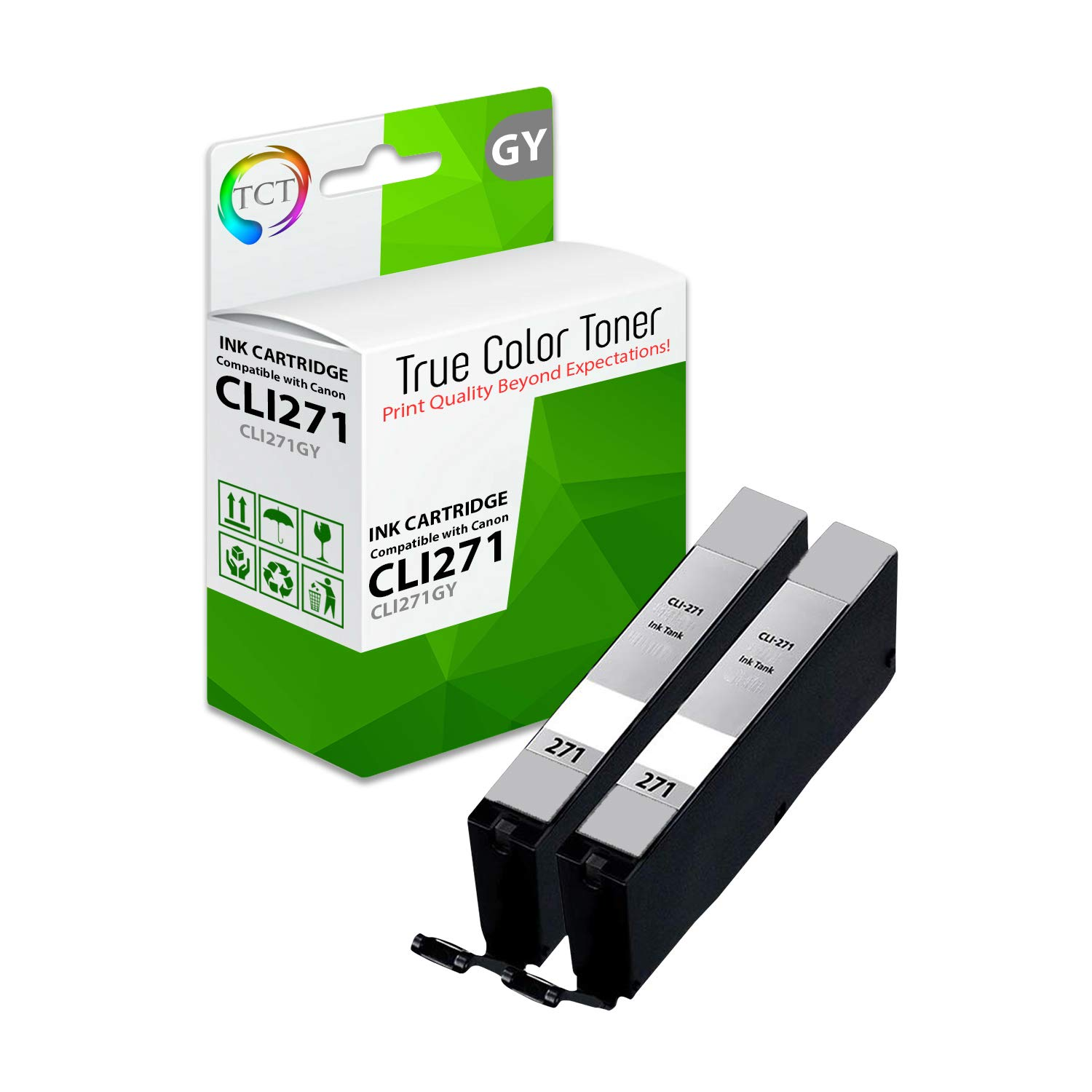 TCT Compatible Ink Cartridge Replacement for Canon CLI-271 CLI271 Gray Works with Canon Pixma MG5720 MG5722 MG6820 MG6822 MG7720 TS5020 TS6020 TS8020 TS9020 Printers (665 Pages) - 2 Pack