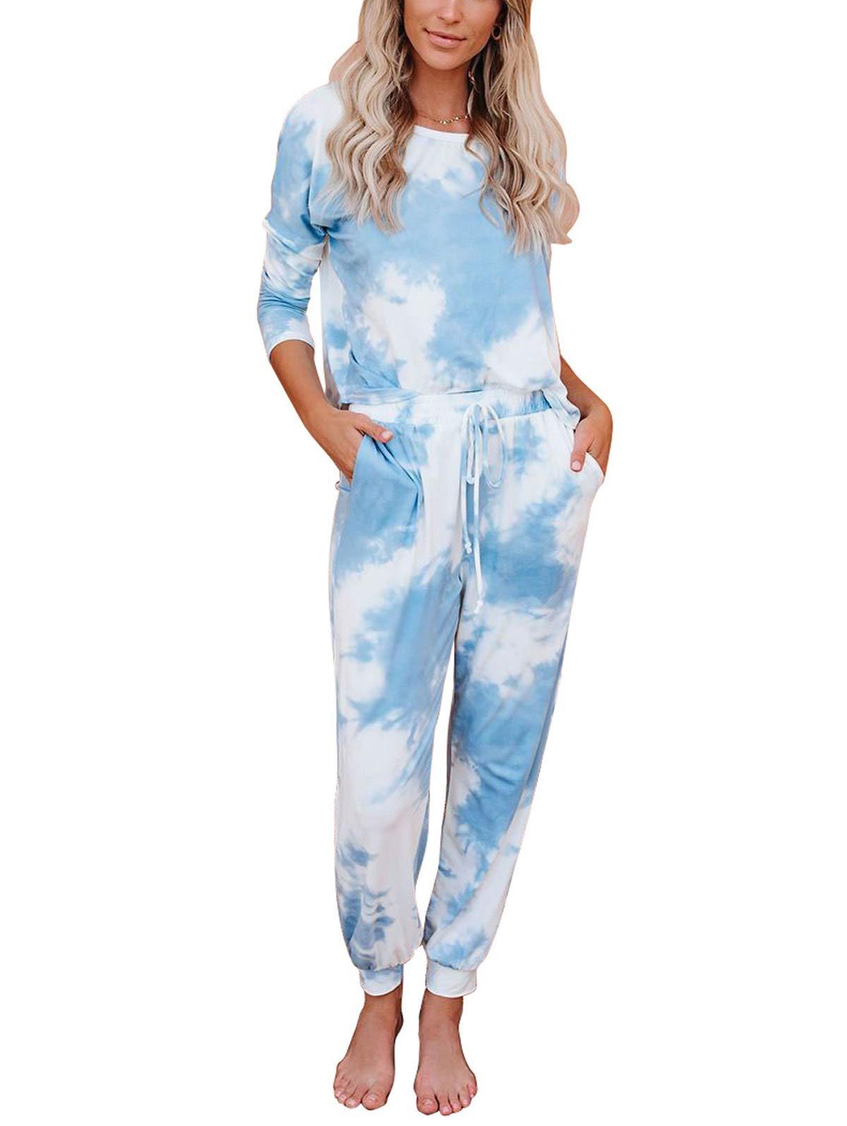 LANREMON Womens Pajamas Set Tie Dye Print Short/Long Sleeve Tops with Pants Pockets PJ Set Sleepwear Loungewear