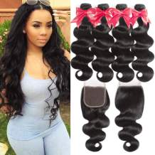 Flady 10A Brazilian Body Wave Hair 4 Bundles with Closure 100% Unprocessed Virgin Human Hair Bundles with 4x4 Free Part Closure (22 22 24 24+20inch)