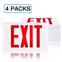 SPECTSUN Led Exit Sign with Battery Backup, Hardwired Red Exit Light Combo - 4 Pack, Lighted Exit Sign Bulb/Exit Combo Light/Battery Exit Sign/Lighted Exit Sign Battery PoweGreen