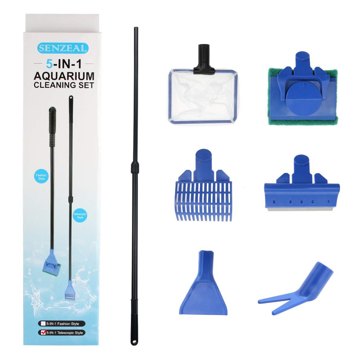 Senzeal Aquarium Fish Tank Clean Set 5 in 1 Fish Tank Cleaning Tools Long Handle Aquarium Cleaning Kit for Aquarium Telescopic Cleaning