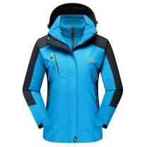 TACVASEN Women's Hooded 3-in-1 Winter Interchange Jacket Water Repellent Softshell Fleece Inner Ski Coat