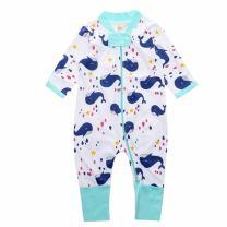 Baby Boys Girls Sleepwear Autumn Long Sleeve Bamboo Print Zipper Romper