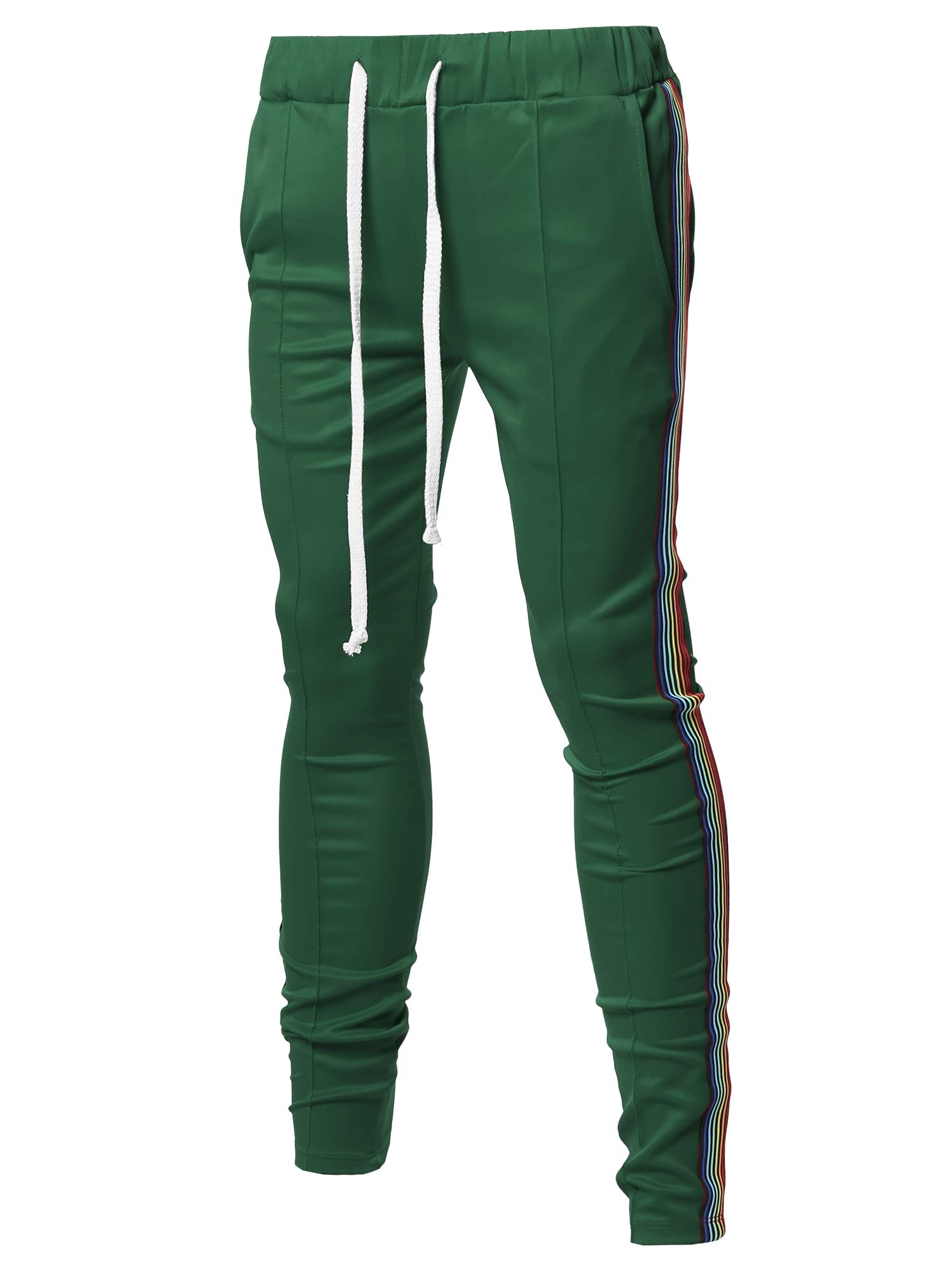 Style by William Men's Dual Side Panel Over Length Drawstring Ankle Zipper Track Pants