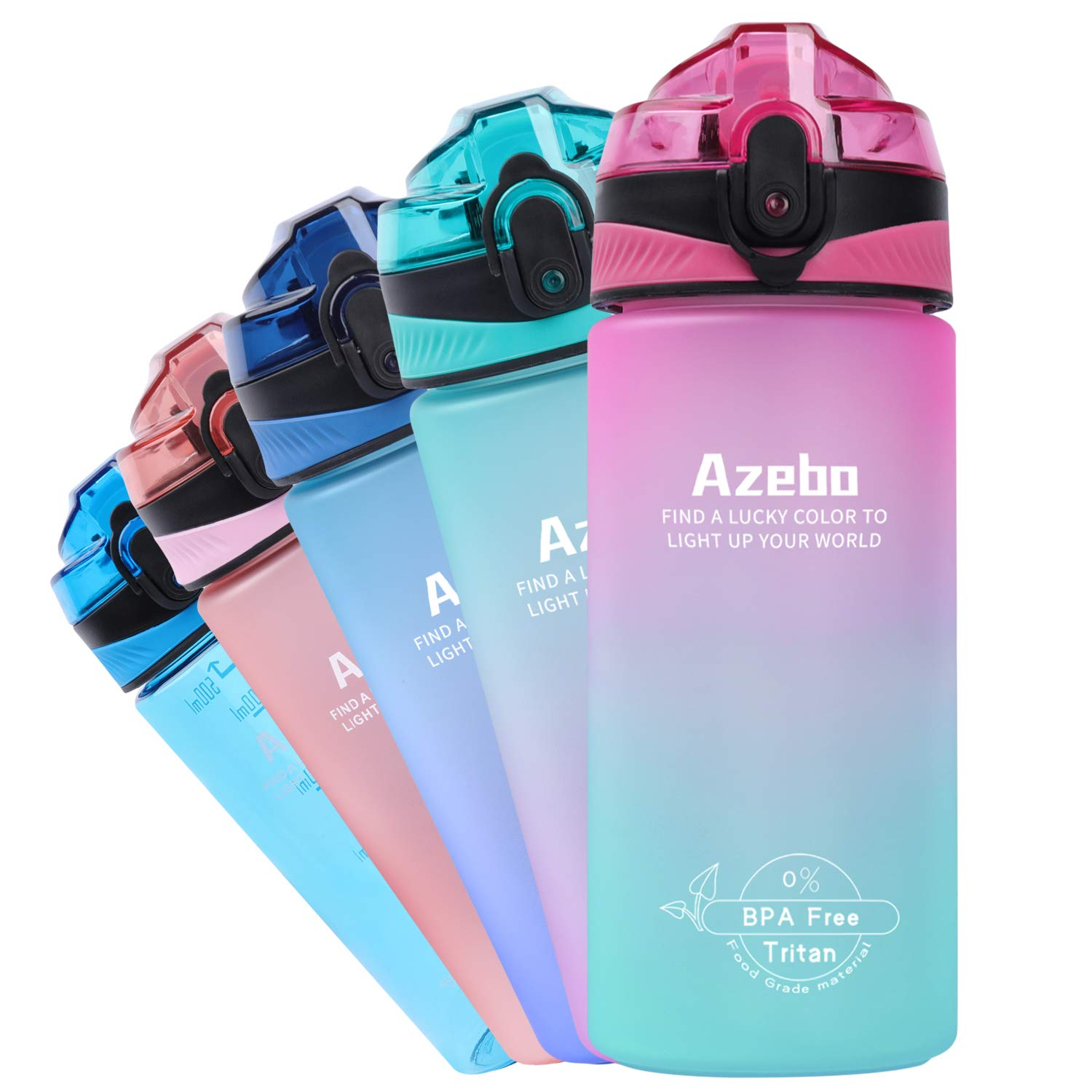 Azebo 18oz Small Water Bottle with Time Marker To Drink & Removable Strainer Infuser Tritan BPA Free Non-Toxic 500ml for Fitness Sports Outdoors and Office Pink/Mint Green Gradient