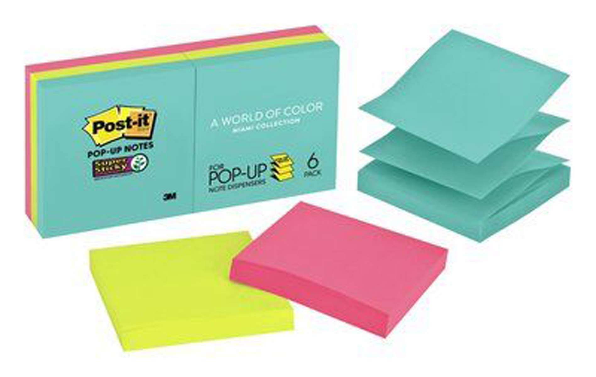 Post-it Super Sticky Pop-up Notes, 2x Sticking Power, 3 in x 3 in, Miami Collection, 6 Pads/Pack, 90 Sheets/Pad (R330-6SSMIA)
