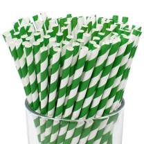 Just Artifacts 100pcs Premium Biodegradable Striped Paper Straws (Striped, Forest Green)