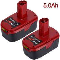 2 Pack 5.0Ah 19.2V DieHard C3 Battery Replacement for Craftsman 19.2 Volt Battery Lithium XCP 130279005 130211004 1323903 11045 11375 11376 315.115410 315.11485 315.113753 120235021 315.PP2011