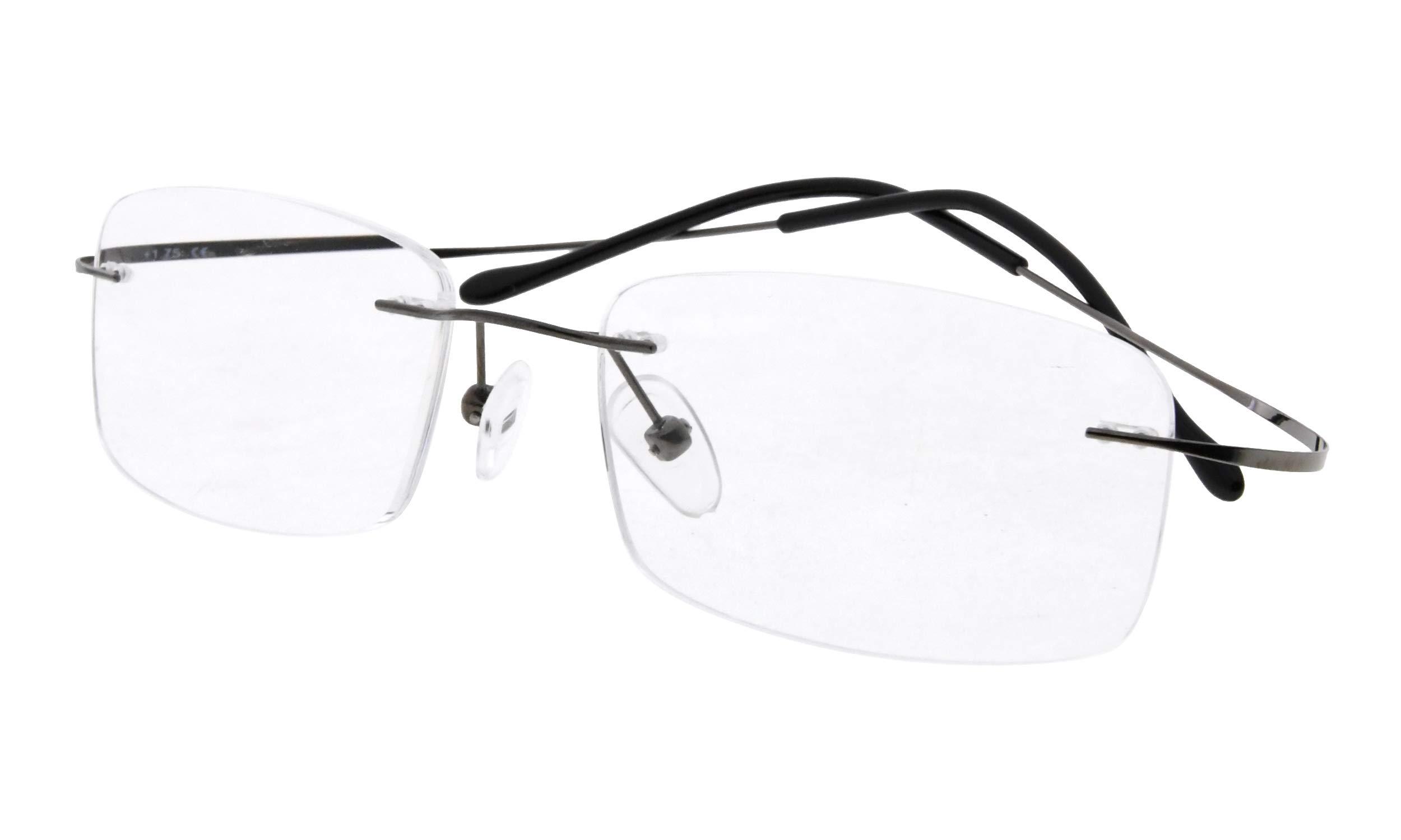 Eyekepper Titanium Rimless Reading Glasses Readers Men Women Gunmetal +1.5