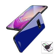 evershare Galaxy S10 Plus Case Tempered Glass Back Soft TPU Bumper Anti-Scratch Shockproof Drop Protection Pure Color Slim Fit Cover for Galaxy S10+, Blue