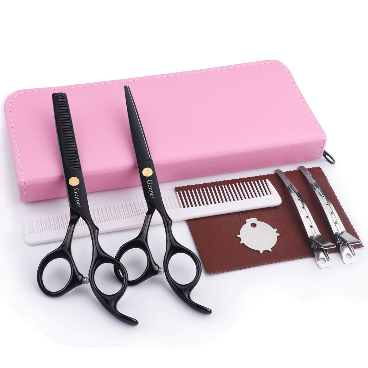GENPAI Hair Cutting Scissors Set, Professional Barber Hair Salon Household Children's Stainless Steel Shear Bangs Artifact Thinning Hairdressing Shear with Pink Leather Case(Pink)