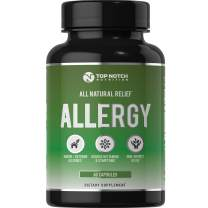 Top Notch Nutrition Natural Allergy Relief Pills Outdoor Indoor Pet Allergies Food Sensitivities Healthy Histamine Levels Antioxidants Moringa Stinging Nettle Quercetin Vitamin C Bromelain and NAC