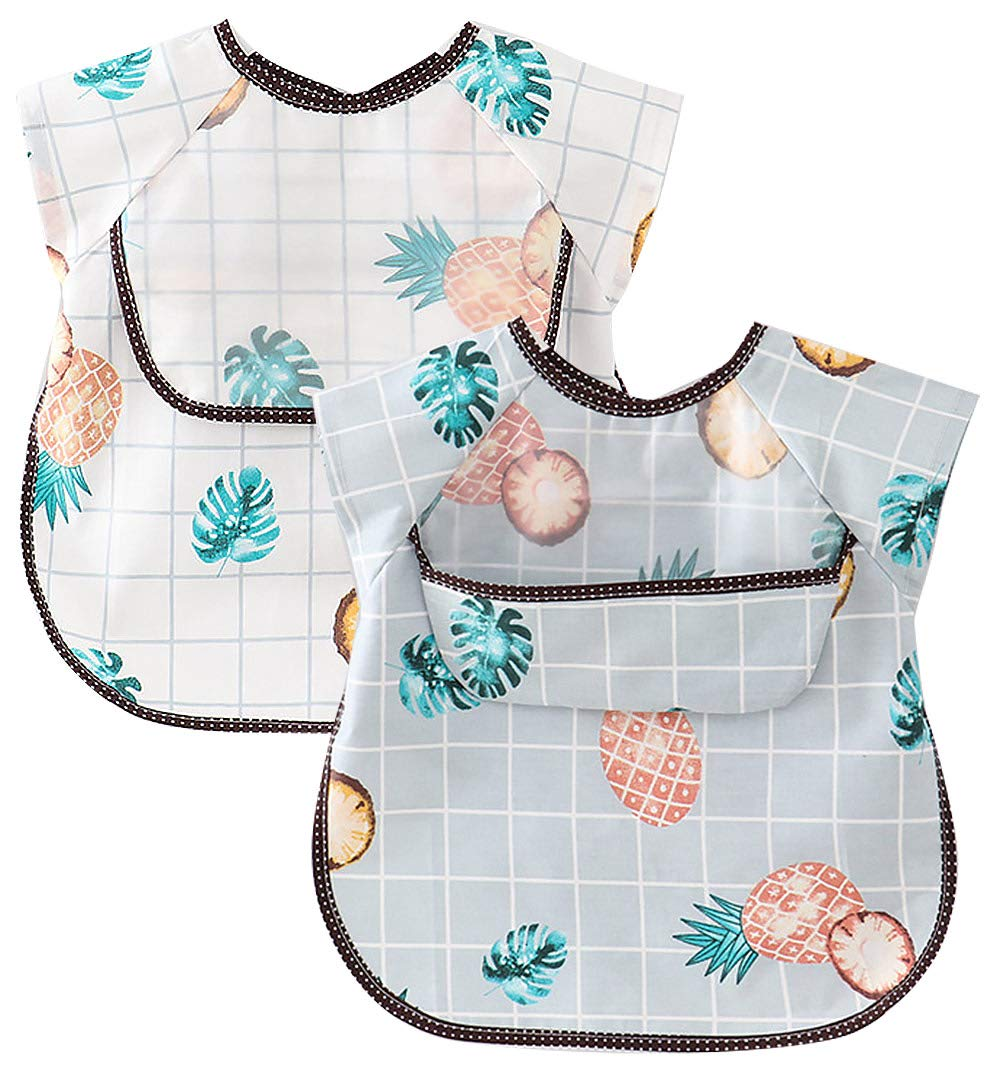 Happy Cherry Baby Infant Unisex Waterproof Bib 2 Pack  Cartoon Art Apron Stain Resistant Smock for Baby Eating Feeding Messy Play