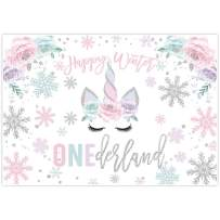 Allenjoy 7x5ft Winter Unicorn Onederland Backdrop for Girl 1st first Pink & Silver Magical Birthday Party Decorations Home Decor Christmas Wonderland Snowflake Background Baby Shower Photo Booth Props