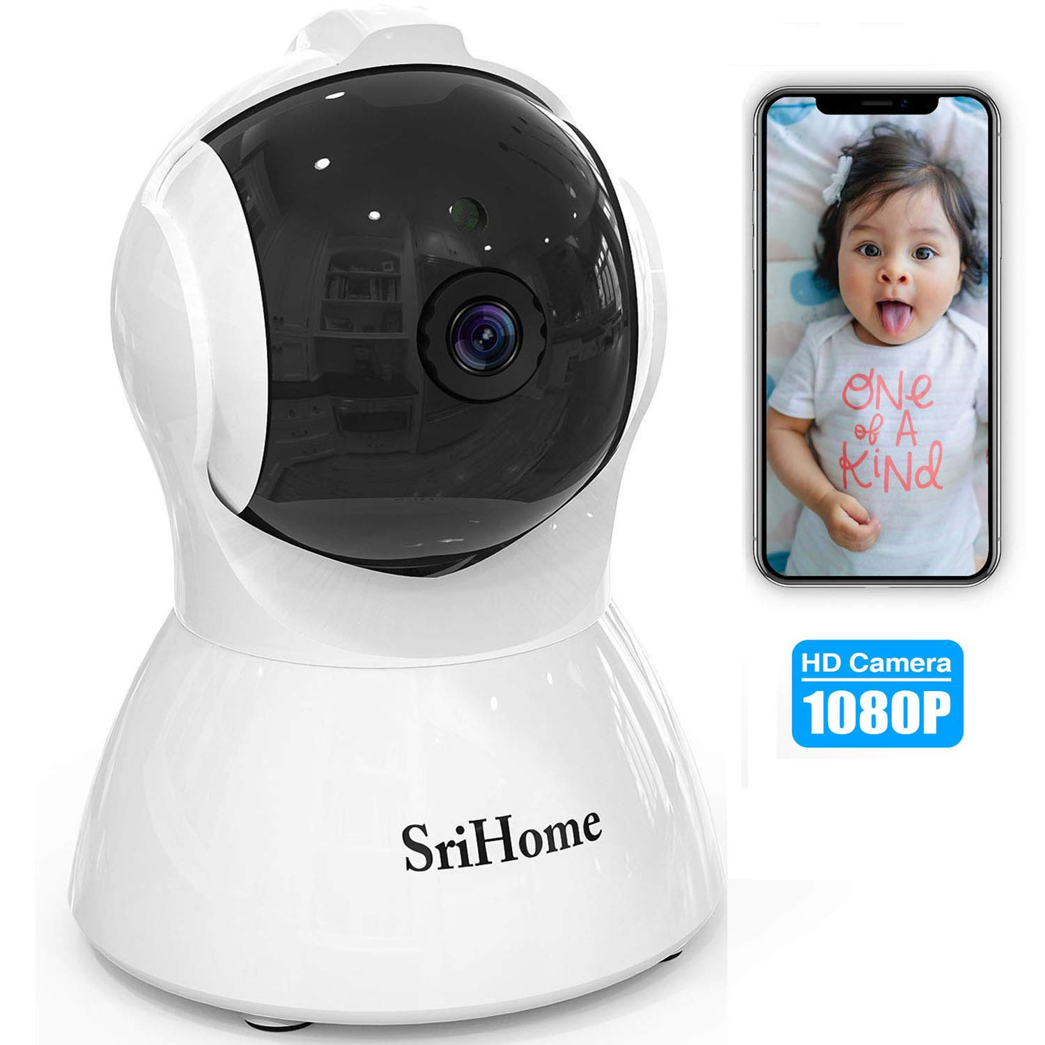GORRON Wireless Security Camera, 1080P HD Video IP WiFi Pet Camera Baby Monitor Sound/Motion Detection with Night Vision 2-Way Audio Available Monitor Baby Elder Pet Nanny for Indoor Home Shop Office