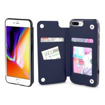 Gear Beast Lychee PU Leather Protective Top View Slim Wallet Case Fits iPhone 8 Plus/ 7 Plus Includes Flip Folio Cover, with Five Card Slots Including Transparent ID Holder