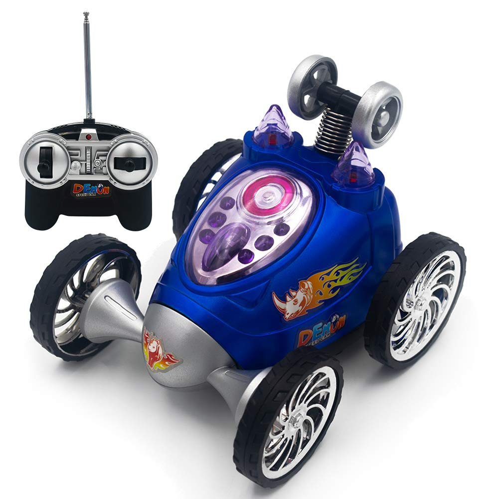 Lovstory Acrobatic Stunt RC Car Light Up Rechargeable Remote Controlled Four Wheel Vehicle 360 Degree Rolling Rotation Rotating Safe & Durable Gift for Kids Boys & Girls (Blue)