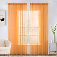 MIULEE 2 Panels Solid Color Sheer Window Curtains Elegant Window Voile Panels/Drapes/Treatment for Bedroom Living Room (54X108 Inches Orange)