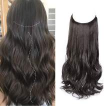 Deethens 20 Inch Halo Hair Extensions Brown Black Curly Hair Extensions No Clip No Glue Daily Use Heat Friendly Fiber Invisible Secret Wire Hair Extensions for Women Girls