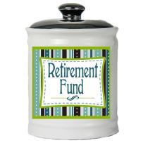 Cottage Creek Retirement Gifts Round Decorative Retirement Fund Ceramic Jar/Retirement Savings [White]