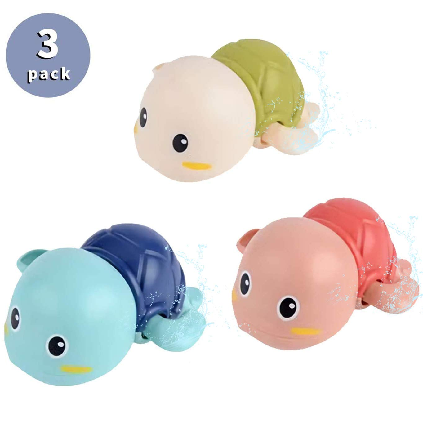 Turtle Toys, Baby Bath Toys, Swimming Turtle Toy, Floating Wind up Bathtub Water Toys Gifts for Toddlers Kids Boys and Girls Age 1-6 Years Old, Pack of 3