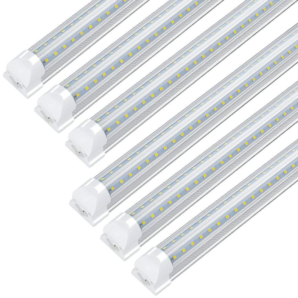 JESLED LED Shop Light, 4FT, Integrated T8 LED Tube Light Fixture, 36W 3600LM, 6000K-6500K White, Plug in Warehouse Garage Lights Lighting, Linkable, V Shape, High Output, with On/Off Switch (6-Pack)