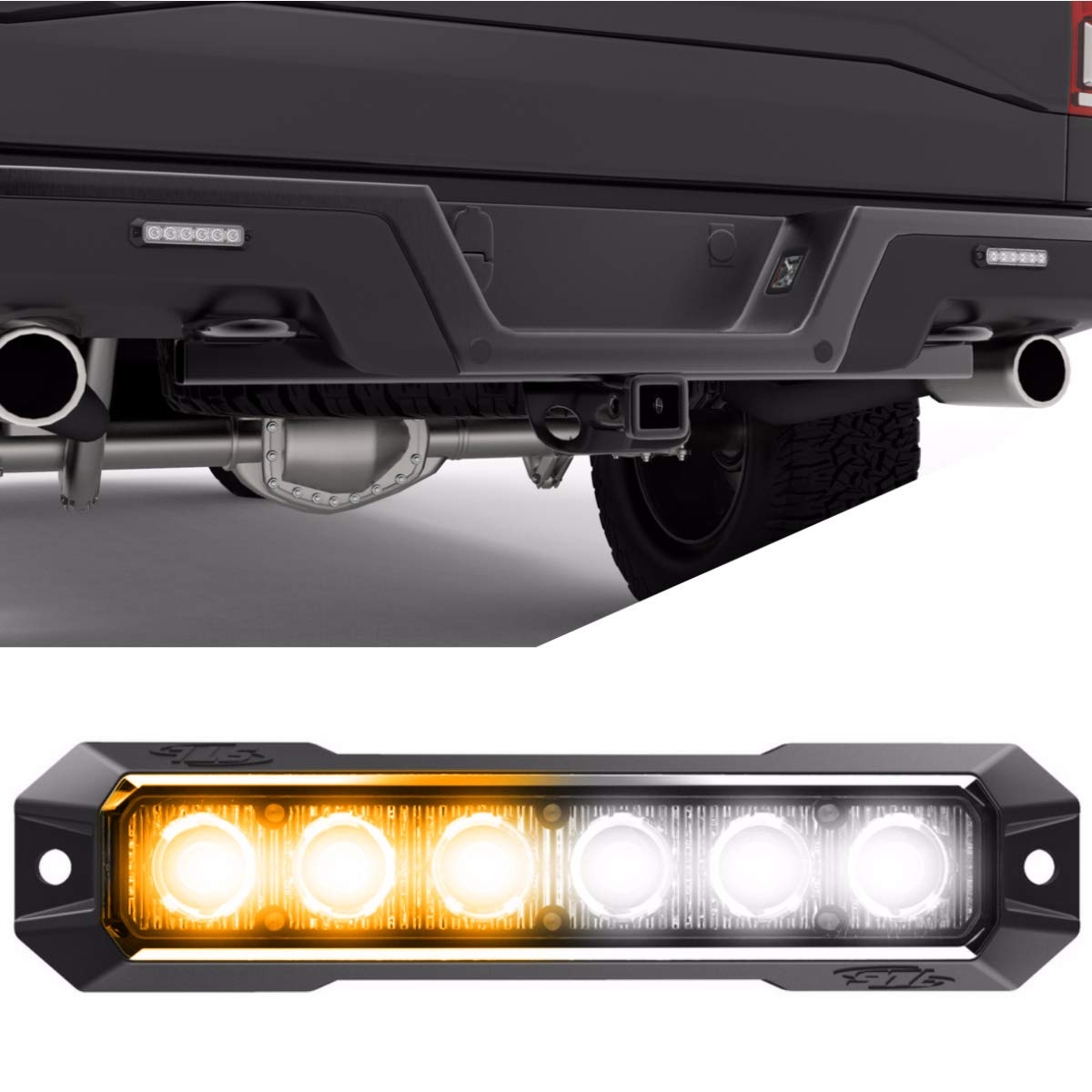 SpeedTech Lights Z-6 TIR 18W LED Strobe Light for Police Cars, Construction Trucks, Service Vehicles, Plows, Emergency Vehicles. Surface Mount Grille Flashing Hazard Beacon Light - Amber/Clear