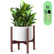 Cosyland Plant Stand Wooden 10 Inch with 1 Trowel and 1 Rake Beech Wood Flower Stand Pot Stand Plant Stand Holder Pot Not Included!