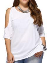 Allegrace Women Plus Size Cold Shoulder T Shirt Short Sleeve Fashion Top Blouse