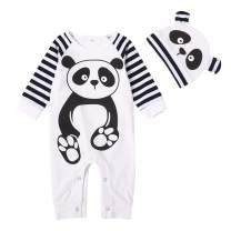 YOUNGER TREE Infant Newborn Baby Girls Boys Bodysuit Stripe Sleeves Romper + Cartoon Panda Hat Fall Outfits