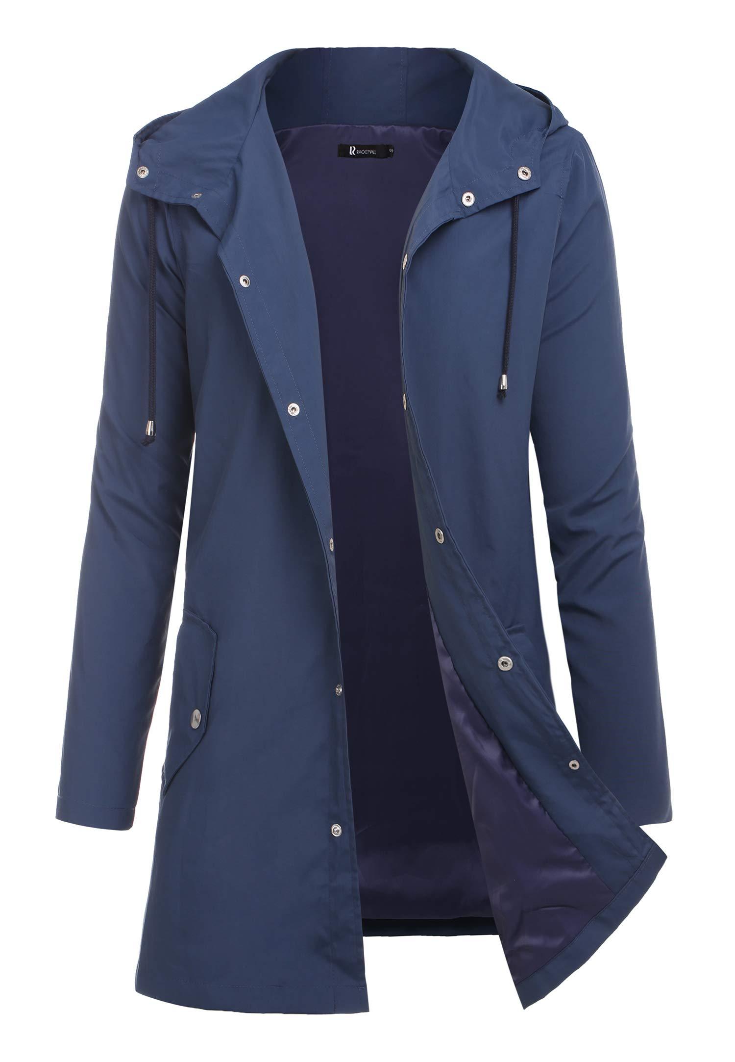 RAGEMALL Men Raincoats Waterproof Jacket with Hood Active Outdoor Long Windbreaker Lightweight Rain Jacket for Men