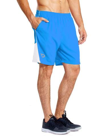 ZHI MADE Mens Workout Running Shorts Zippered Pockets 7 Inches Loose Gym Athletic Trainning Shorts with Side Pockets