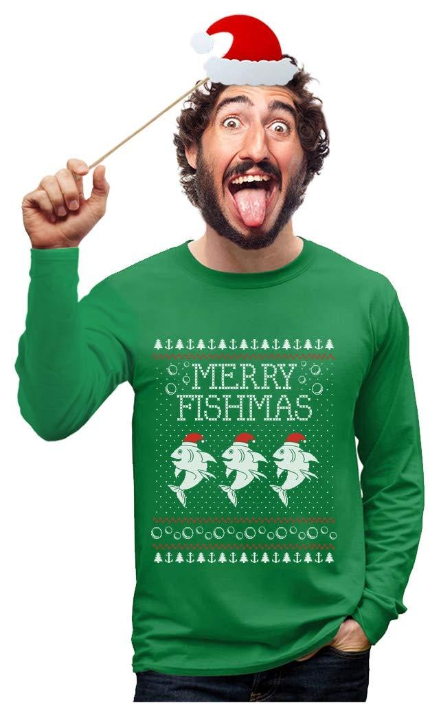 Merry Fishmas Fishing Ugly Christmas Sweater Funny Xmas Long Sleeve T-Shirt