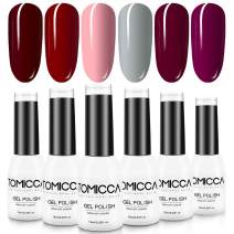 TOMICCA Gel Nail Polish Set, Red Cherry Pink 6 Color Gel Nail Polish Kit, Soak Off UV LED, DIY at Home Starter Kit & Nail Art Salon Professional, Acrylic Nail Kit Gel Polish Non - Toxic - 6×10ml