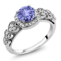 Gem Stone King 925 Sterling Silver Blue Tanzanite Women's Ring 1.22 Ctw Round Gemstone Birthstone (Available 5,6,7,8,9)