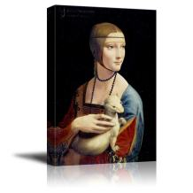 "wall26 - Lady with an Ermine by Leonardo da Vinci - Canvas Print Wall Art Famous Oil Painting Reproduction - 24"" x 36"""