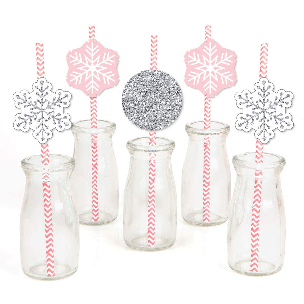 Big Dot of Happiness Pink Winter Wonderland - Paper Straw Decor - Holiday Snowflake Birthday Party or Baby Shower Striped Decorative Straws - Set of 24