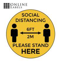 """Social Distancing Floor Signs - Pack of 5 Stickers - Yellow Stand Here Design - 12"""" Circle - Indoor/Outdoor - Aggressive Adhesive Vinyl - Online Labels"""