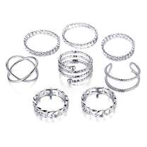 GVUSMIL 6-15 PCS Midi Joint Knuckle Ring Set Finger Rings Gold/Silver Stackable Thumb Open Rings Set Adjustable for Women/Girls Jewelry Gifts