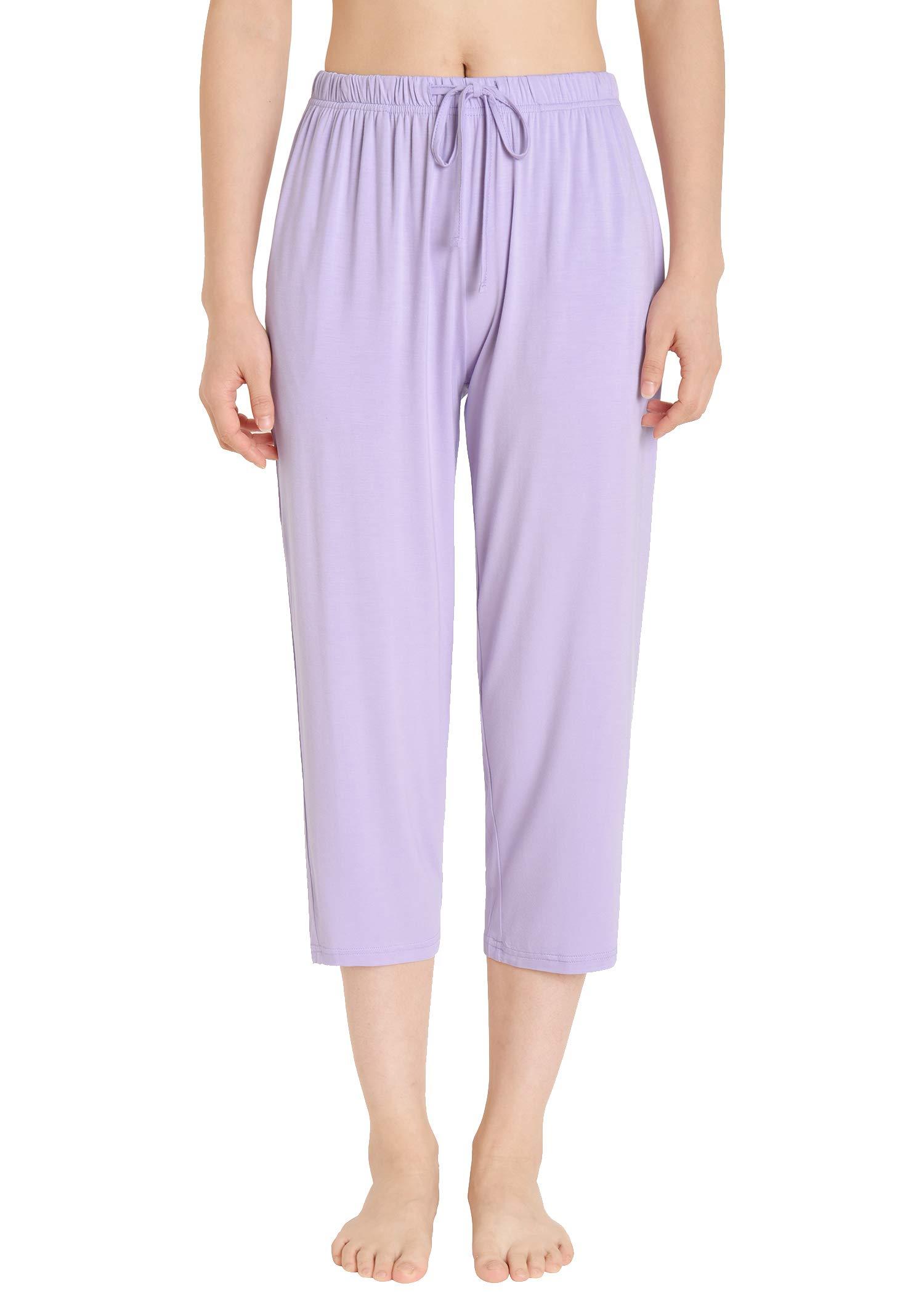 Esenchel Women's Plus Knit Pj Capris with Pockets