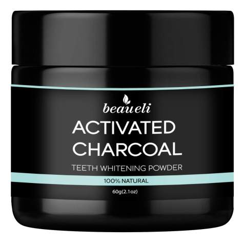 Beaueli Activated Charcoal Teeth Whitening Powder (2.1 Oz) Natural Black Tooth Whitener Coconut Charcoal Toothpaste Powder for Sensitive Teeth