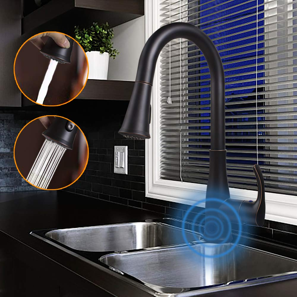 Touchless Kitchen Sink Faucets Motion Wave Sensor Single Handle Faucet With Dual Mode Pull Down Sprayer One Hole And Three Hole Deck Mount Stainless Steel Oil Rubbed Bronze