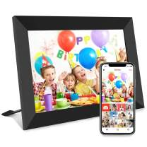 10 inch Digital Picture Frame, Smart WiFi Digital Photo Frame 1920x1080 IPS Screen, 16GB Storage, Adjustable Brightness, Photo Deletion, Auto-Rotate, Background Music, Support USB & Micro SD Card
