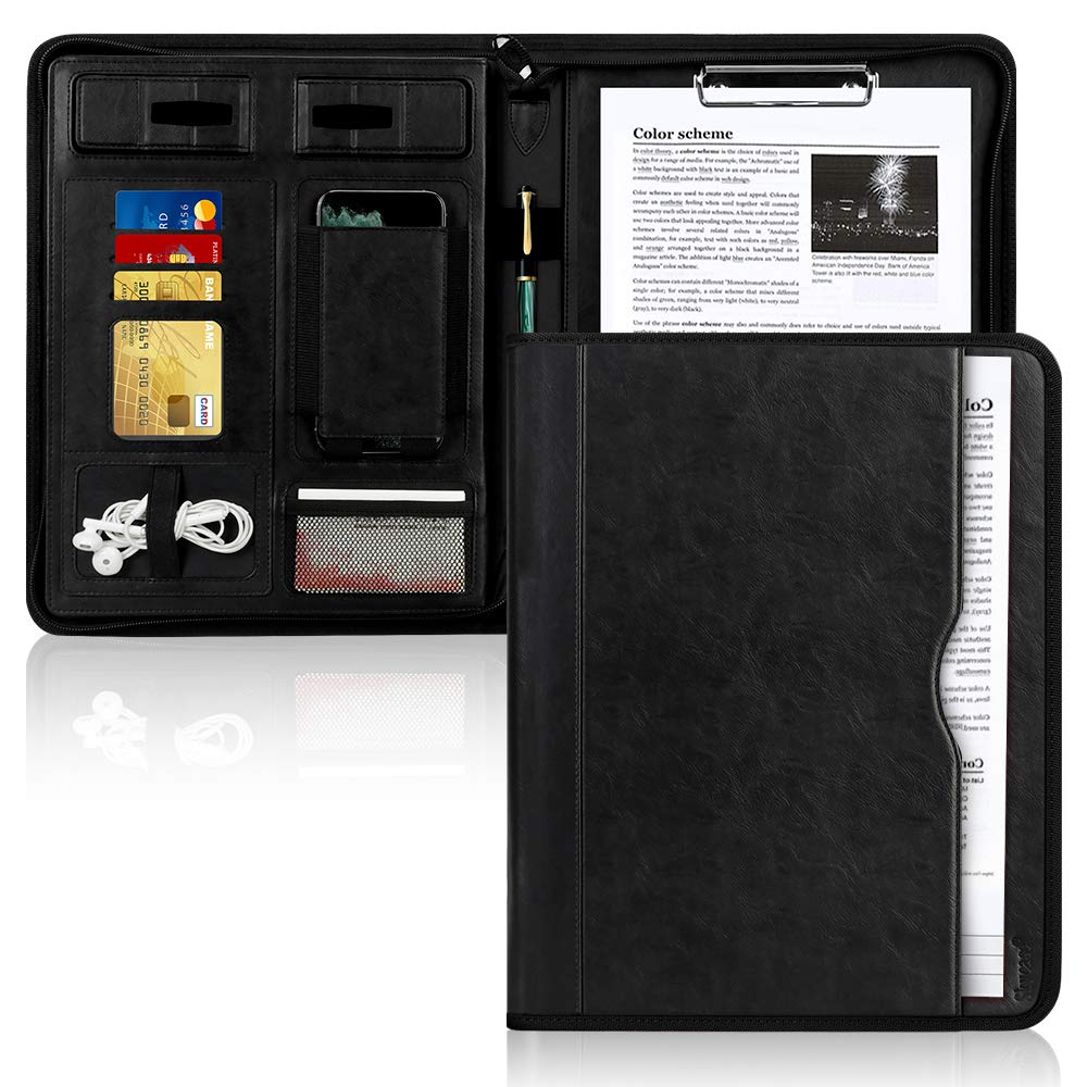 Portfolio Padfolio Case, Skycase Business Portfolio Folder, Zippered Conference Folder Document Organizer with Letter Size Clipboard, Document/Tablet Sleeve(Up to 12.9'' Tablet) and Card Holders Black