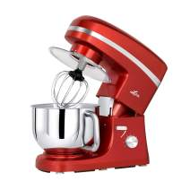 Litchi Stand Mixer, 650W 6 Speed Tilt-Head Mixer with 5.5 Quart Stainless Steel Bowl, Beaters, Whisk, Dough Hook, Pouring Shield, Red