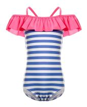 iDrawl One Piece Swimsuit, Girls Beach Wear Stripes Ruffle Swimwear